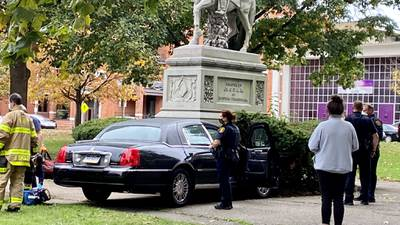 Vehicle crashes into statue in Pittsburgh park