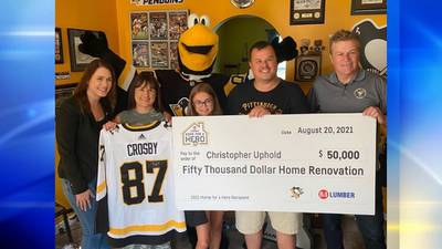 84 Lumber, Pittsburgh Penguins surprise local veteran with home renovations