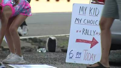 Parents from nearly a dozen school districts gather at North Park to protest mask requirements