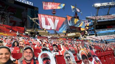 WPIAL football players included in cardboard cutouts in seats at Super Bowl