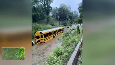 Students rescued from school bus stuck in floodwaters in Shaler Township