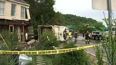 Garbage truck destroys Etna family's home after crashing into it